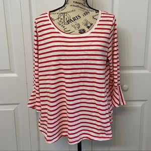 HANNAH Striped Bell Sleeve Top / Size XL